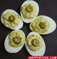 Olives and Mustard Deviled Eggs
