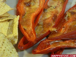 Red Chili Peppers with Anchovy and Mozzarella Cheese - By happystove.com