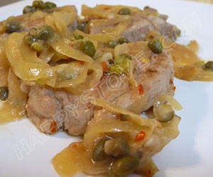 Pork Loin Medallions with Caramelized Onions and Capers