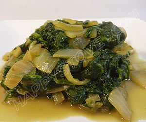 Stir Fried Baby Spinach with Onions